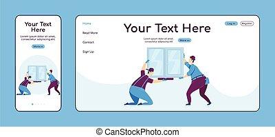 plano, página principal, móvil, plataforma, cruz, ui., página web, aterrizaje, color, pc, casa, layout., uno, vector, página, sitio web, ventana, reparaciones, hogar, diseño, handyworkers, instalación, mejora, template., adaptable