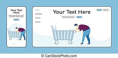 plano, página principal, móvil, plataforma, cruz, ui., página web, aterrizaje, color, pc, layout., uno, factótum, vector, cuna, reparador, página, sitio web, reparaciones, padre, hogar, diseño, template., fijación, adaptable
