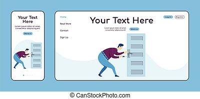 plano, página principal, móvil, plataforma, cruz, ui., página web, aterrizaje, color, pc, layout., perilla, uno, vector, reparador, página, sitio web, servicio, reparaciones, hogar, diseño, puerta, handyworker, template., fijación, adaptable