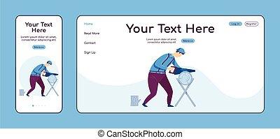 plano, página principal, móvil, plataforma, cruz, ui., página web, aterrizaje, trabajo, color, pc, layout., carpintería, uno, vector, reparador, página, sitio web, reparaciones, hogar, diseño, artesano, template., adaptable