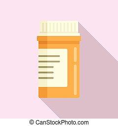 plano, píldora, estilo, aspirina, icono, tarro