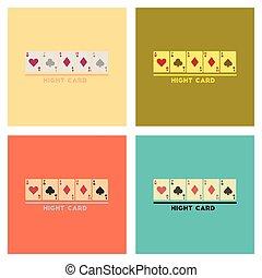 plano, póker, asamblea, iconos, alto, tarjeta