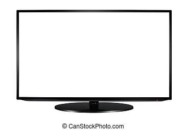 plano, pantalla de tv, moderno, blanco, set.