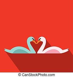 plano, pareja, cisnes, icono