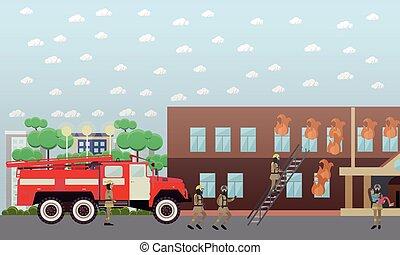 plano, parquede bomberos, ilustración, vector, style.