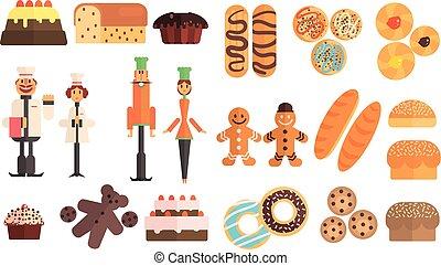 plano, pasteles, conjunto, bread, uniforms., trabajando,...