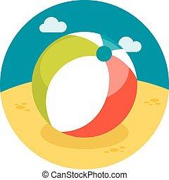 plano, pelota, largo, sombra, playa, icono