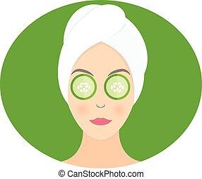 plano, pepino, mujer, ella, máscara, ilustración, vector,...
