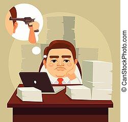 plano, perezoso, duro, oficina, cansado, trabajo, trabajador...