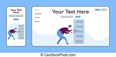 plano, perilla, adaptable, ui., reparador, pc, layout., reparaciones, puerta, plataforma, uno, sitio web, móvil, página web, página, handyworker, template., diseño, página principal, vector, aterrizaje, hogar, color cruz, servicio, fijación