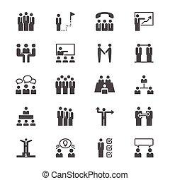 plano, personas empresa, iconos