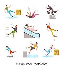 plano, personas., escalera, abajo, silla, escaleras, ...
