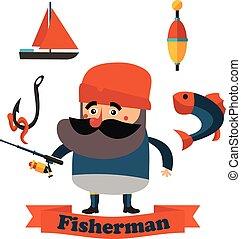 plano, pescador, aduelo