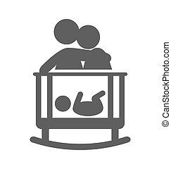 plano, pictogram, aislado, puesto, padres, bebé, sueño,...