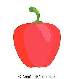 plano, pimienta, rojo, icono