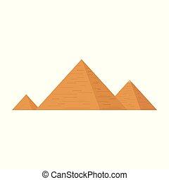 plano, pirámides, diseño, icono