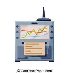 plano, plano de fondo, seismometer, geodetic, blanco, ilustración, sismógrafo, sísmico, terremoto, dispositivo, actividad, o, estilo, vector
