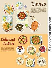 plano, platos, menú, europeo, fin de semana, icono