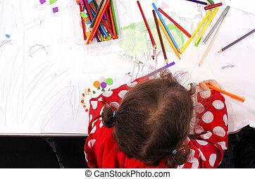 plano, poco, colores, papel, colocar, niña, pedazo, dibujo, vista