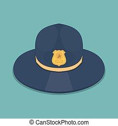 plano, policía, ilustración, vector, icono, sombrero, design.