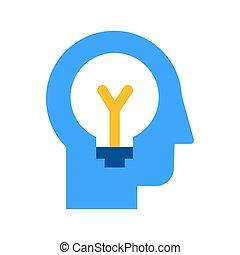 plano, poniendo común, generación, idea, icono, vector