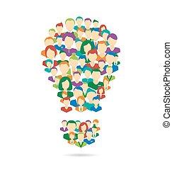 plano, proceso, idea, aislado, crowdsourcing, lámpara,...