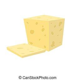 plano, queso, cow's, o, cortar, goat's, vector, fresco,...