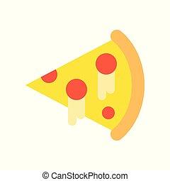 plano, rebanada, pizza, gastronomía, conjunto, alimento, icono