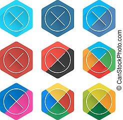 plano, red, icono, social, popular, hexágono, borrar