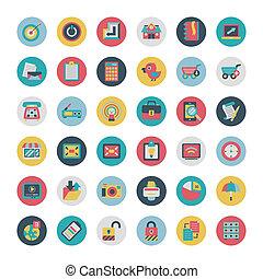 plano, red, iconos, colección, vector, retro
