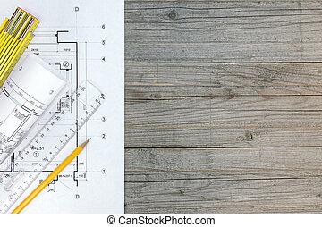 plano, regla, y, lápiz, en, tabla de madera