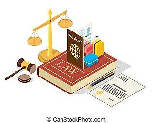 plano, regulación, vector, ley, ilustración, inmigración,...