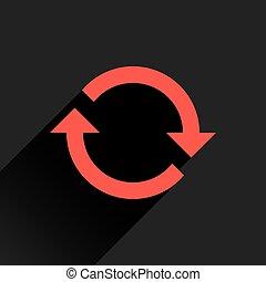 plano, reload, señal, flecha, rotación, refrescar, rojo, icono