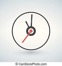 plano, reloj, ilustración, vector, icono, design.