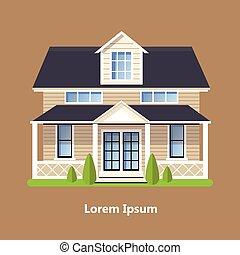 plano, residencial, colorido, casas