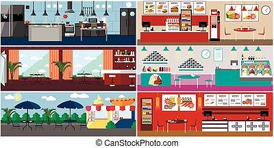 plano, restaurant., vector, restaurante, alimento,...