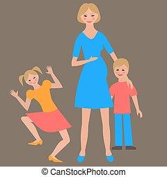 plano, retrato, de, familia feliz, con, madre, y, children.
