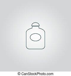 plano, retro, botella, perfume
