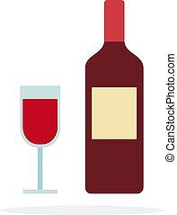 plano, rojo, botella de vidrio, aislado, vino