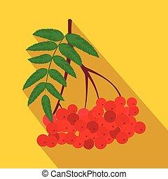 plano, rowan, rojo, rama, icono