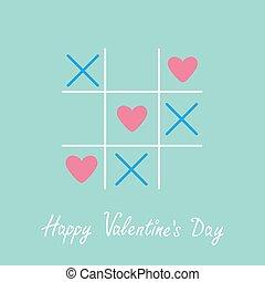 plano, señal, día, marca, cruz azul, tres, feliz, tarjeta, tic, corazón, diseño, tac, dedo del pie, juego, valentines