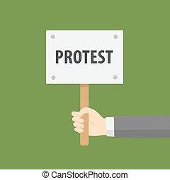 plano, señal, protesta, diseño, llevar a cabo la mano