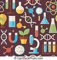 plano, seamless, patrón, educación, ciencia, y, investigación, objetos, encima, oscuridad, marrón