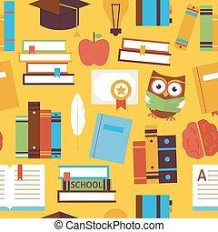 plano, seamless, patrón, educación, libros, y, conocimiento, objetos, encima, amarillo