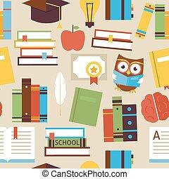 plano, seamless, patrón, educación, libros, y, conocimiento, objetos, encima, beige