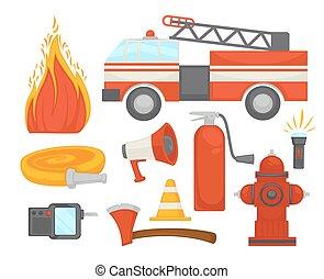 plano, seguro, protección, iconos, fuego, cartel, bombero,...