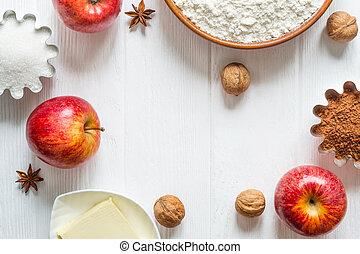 plano, selección, ingredientes, pastel, baking., otoño, canela, manzanas, molletes, o, colocar