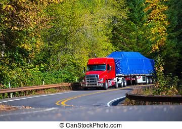 plano, semi, cama, otoño, bobina, camión, remolque, rojo,...