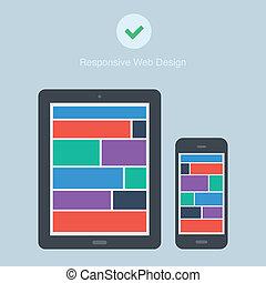 plano, sensible, diseño, teléfono, y, tableta