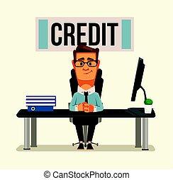 plano, sentado, oficina., carácter, ilustración, credito, ...